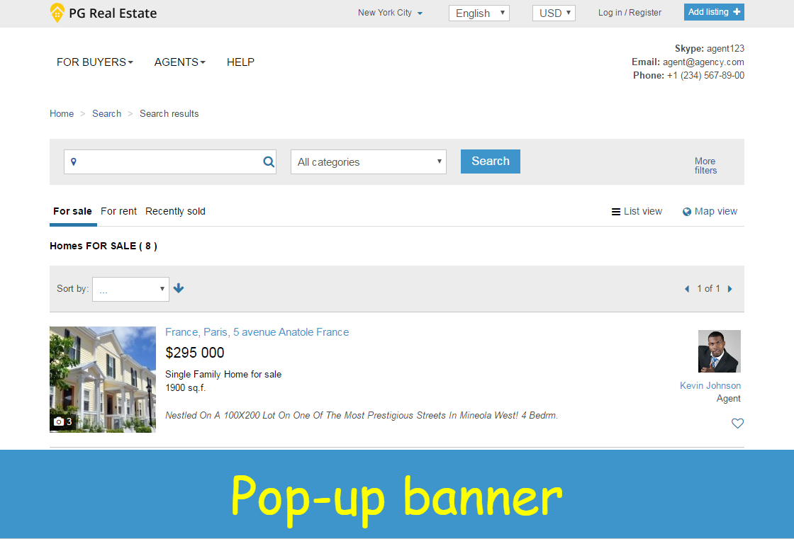 Pop-up banner - Announce events and promo offers